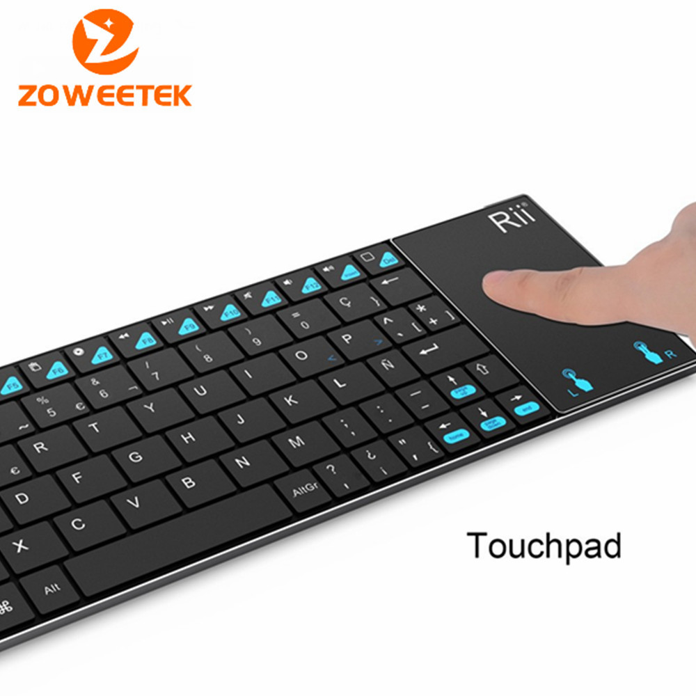 Original Rii i12 Spanish ultra slim 2.4Ghz RF mini wireless keyboard with touchpad mouse for PC HTPC Tablet Android TV Box(China (Mainland))