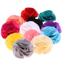 80PCS Baby Satin Flower Artificial Rose flower No Hairclip Hair Bows for little girls Hair Accessories Headwear(China (Mainland))