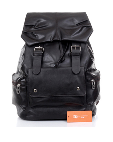 2015 Leisure men's large capacity bag students backpack PU leather laptop bagpack shoulder bags rucksack solid - Visual market style design co,. Limted. store