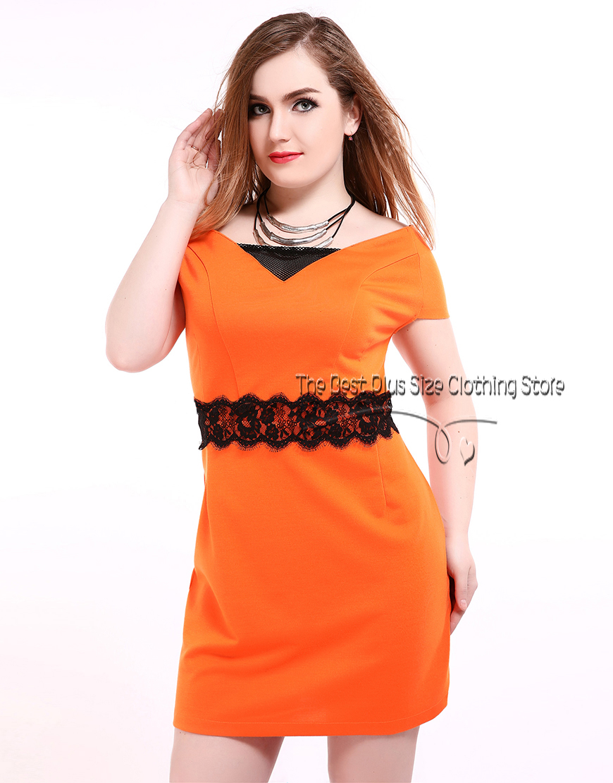Women's sexy v-neck plus size party dress net patchwork plus size dress spring dress summer casual lace dress(China (Mainland))