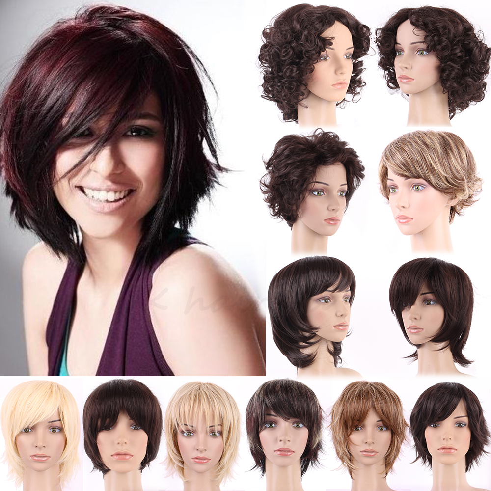 Full Women Girls Top Grade Short Hair Wig Natural Curly Layer Wavy Synthetic Wigs Easy Style(China (Mainland))