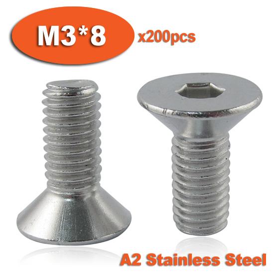 200pcs DIN7991 M3 x 8 A2 Stainless Steel Screw Hexagon Hex Socket Countersunk Head Cap Screws<br><br>Aliexpress