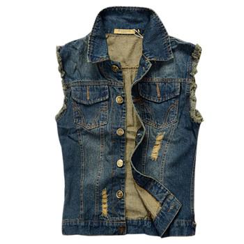 Mens Denim Vest 2015 New Brand Jeans Vests Men Slim Fit Sleeveless Jacket Plus Size 6XL Patchwork Waistcoat Gliet Men Z1655