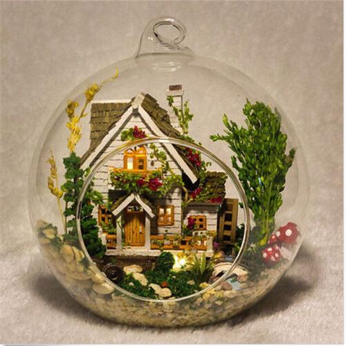 [해외]DIY 숲 홈 유리 인형 집 하우스 KitVoice 제어 램프 X 마..