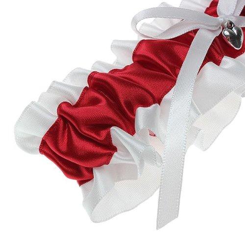 Bride s Bridal Wedding Garters Satin Bowknot Ruffles White Red