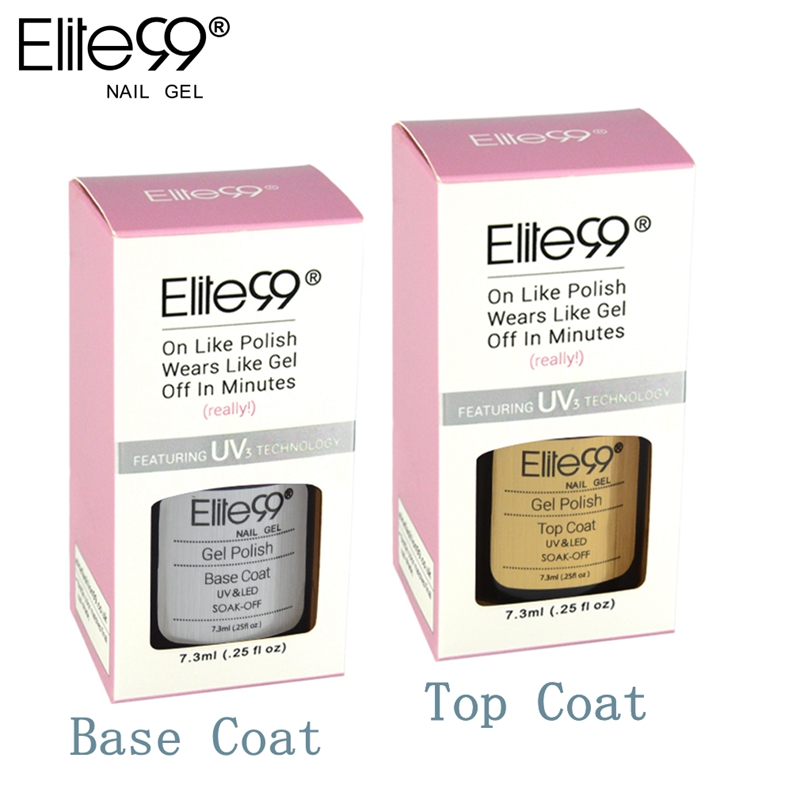 Elite99 Gel Nail Primer 7.3ml Top Coat Top it off and Base Coat Foundation for UV Gel Polish Best on Ali With Color Box