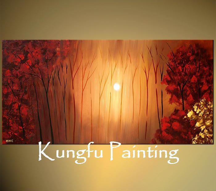 lar1-8011 100% Hand-painted unframed good quality modern abstract huge canvas art tree oil painting landscape(China (Mainland))