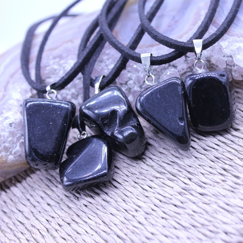 Sale!Natural stone pendant Black jade Obsidian Charms necklaces Irregular pendants Fashion Jewelry choker necklace Chain For Men(China (Mainland))
