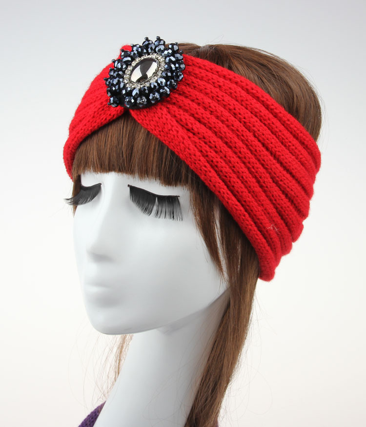 New Fashion Ladies Jewel wool Accessory Winter Warm Floral stretch Turban Soft Knit Headband Beanie Crochet Headwrap Women(China (Mainland))