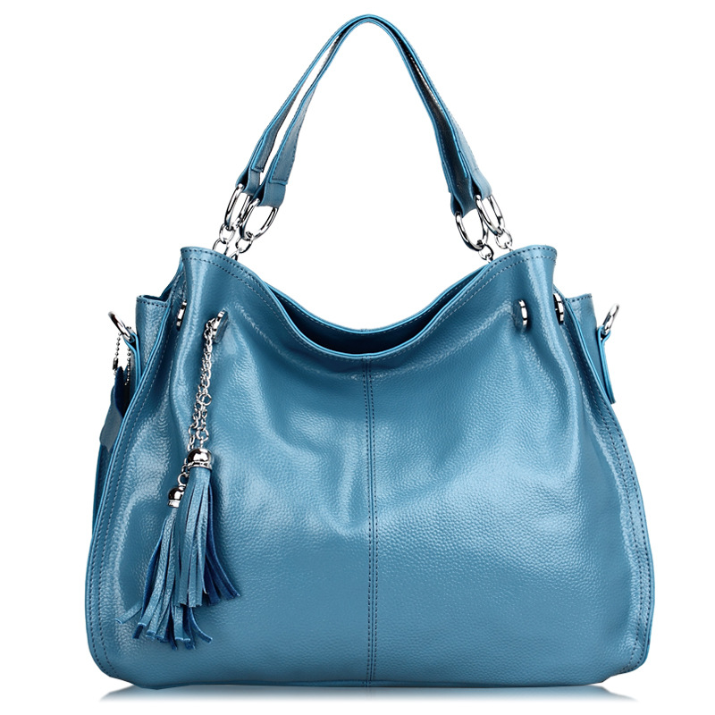 Fashion Women Genuine Leather Handbag Ladies Cowhide Tassel Shoulder Tote Crossbody Bags Female Bolsas QZ5217