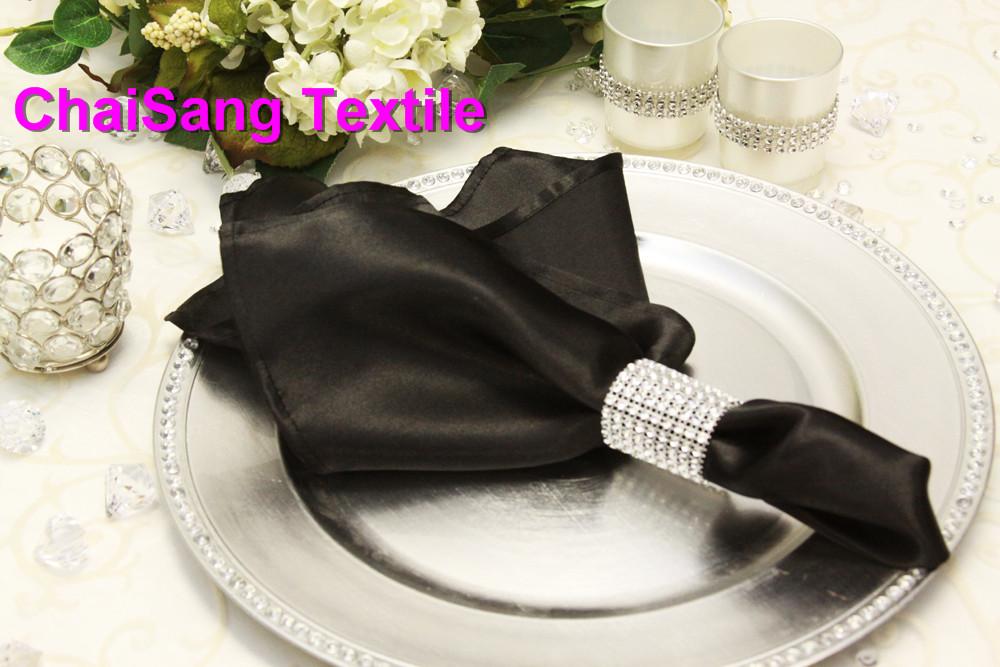 100pcs #Black Satin Napkin 45x45cm For Wedding Event &Party Decoration(China (Mainland))