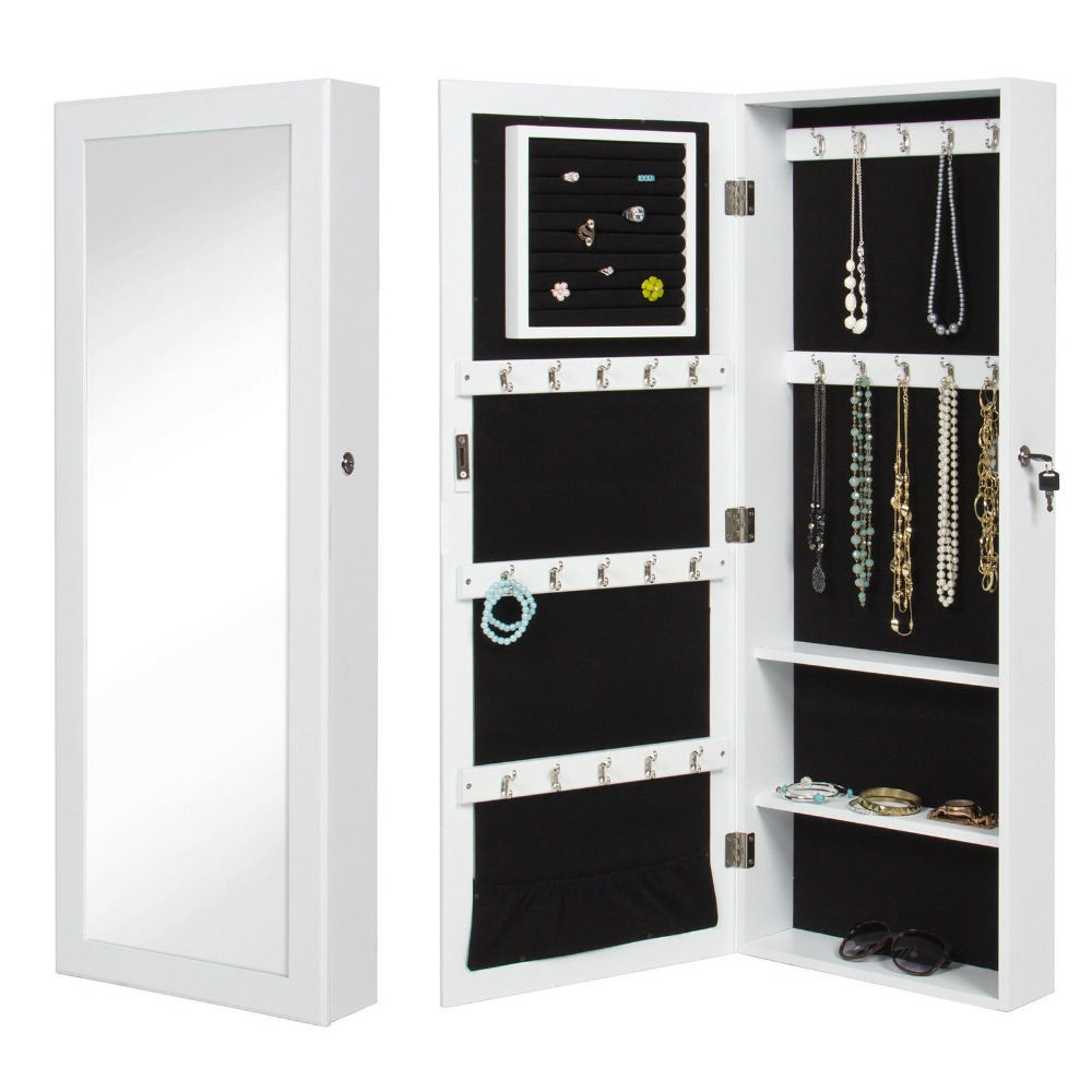 White Mirrored Jewelry Cabinet Armoire Organizer & Storage Wall Mount & Jewelry Case(China (Mainland))