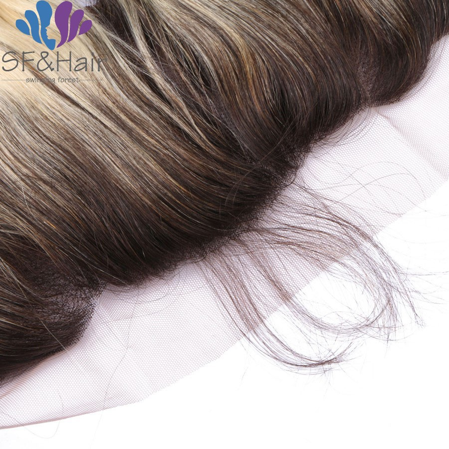 Top Grade 1b 613 Virgin Brazilian Hair Body Wave 3 Bundles With Blonde ear to ear lace frontal with Baby Hair 13*4 Free ship