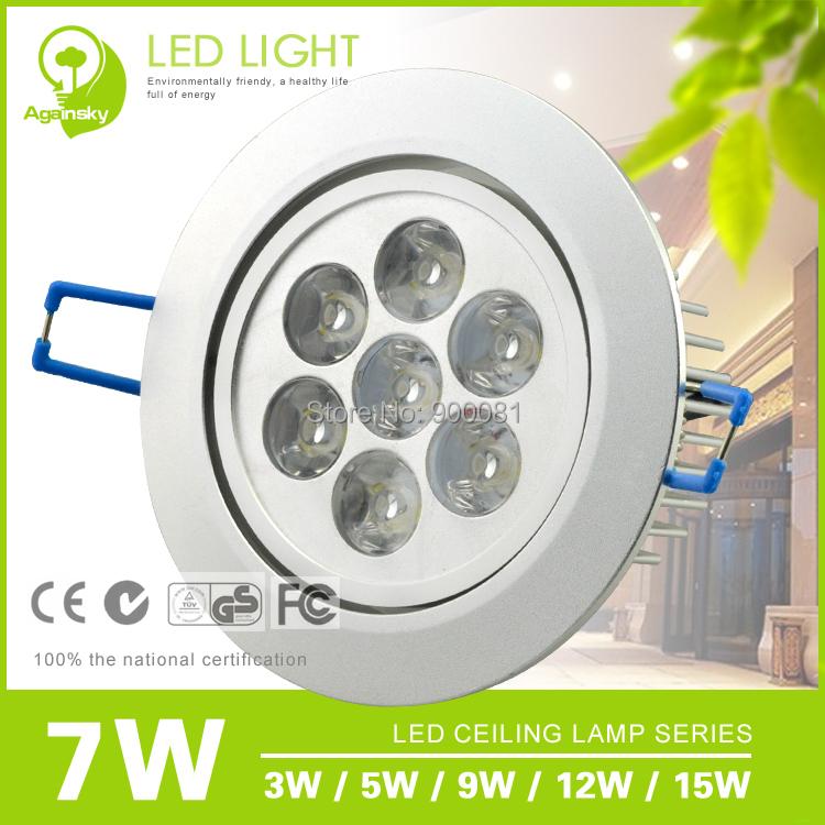 7W faretti led incasso LED downlight Energy-Efficient 100-240V LED led kitchen light luminarias de led Free Shipping + 2pcs/lot(China (Mainland))