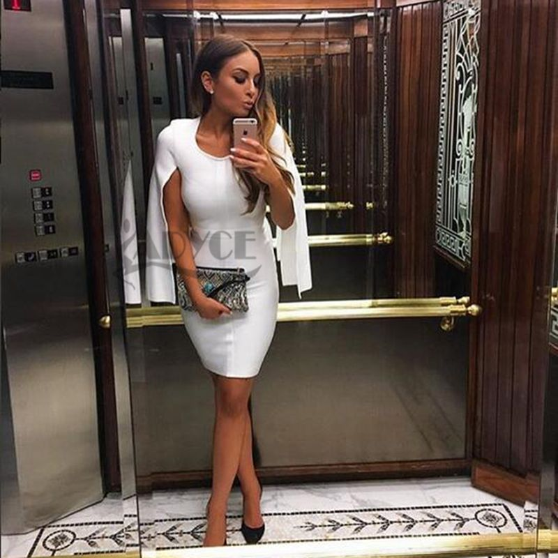 2016 wholesale solid white color long sleeve open bodycon elegant luxury noble celebrity party prom fashion HL bandage dresses