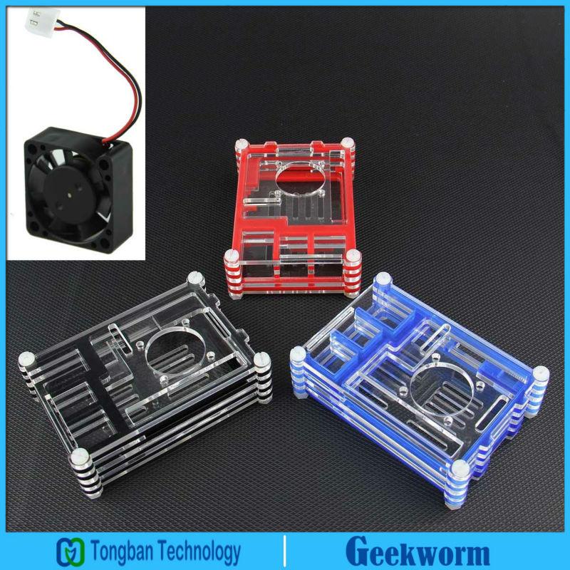 New Rainbow Acrylic Case/shell/box+Mini fan for Raspberry Pi 3 / Pi 2 Model B and B Plus(China (Mainland))