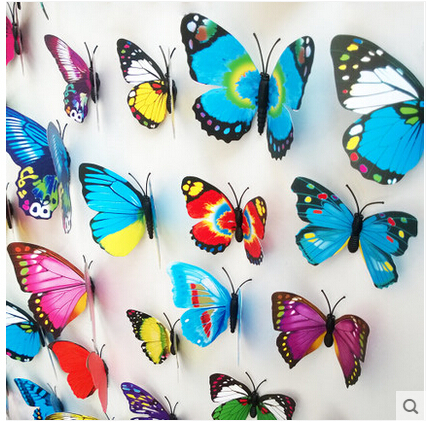 12Pcs/Set 3D Wall Sticker Colorful Emulational 3D Butterfly Home Decoration Stickers For Gifts(China (Mainland))