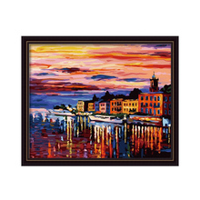 Diy digital oil painting coloring by numbers home decor hand painted  modular patterns on the wall pictuer The Night harbor arts(China (Mainland))