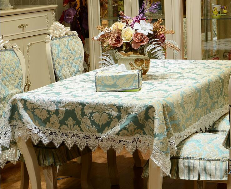 Luxury 3D floral jacquard lace European rectangle polyester chenille tablecloth set suit chair cover set 130x180cm 3 colors(China (Mainland))