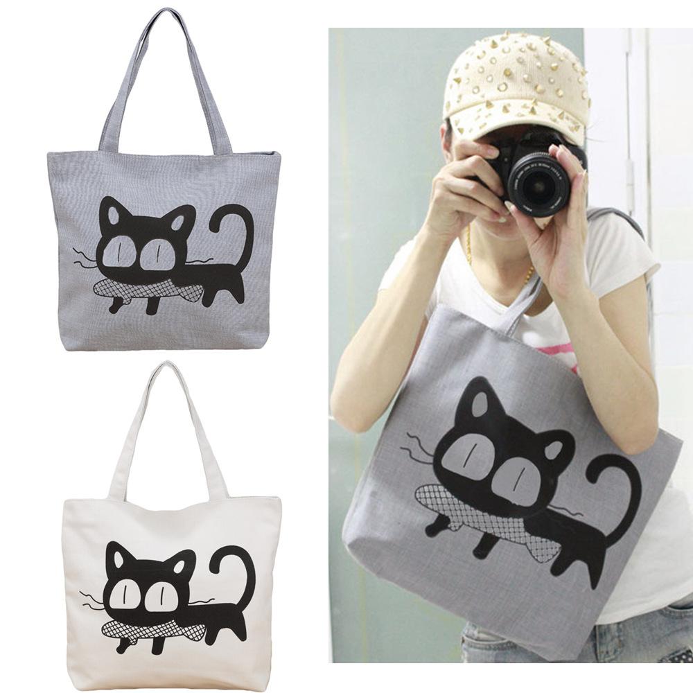 Women Handbag New 2015 Fashion Casual Women Nylon Bag Cute Cat Printed Shopping Bag Office Lady Print Lunch Bag Grey White(China (Mainland))
