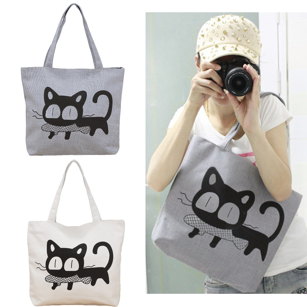 Women Handbag New 2015 Fashion Casual Women Nylon Bag Cute Cat Printed Shopping Bag Office Lady Print Lunch Bag Grey White(China (Mainland))