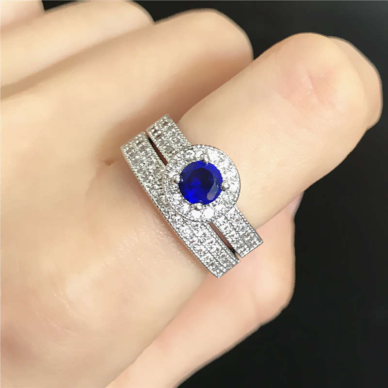 General elegant fashion full rhinestone blue stone ring bridal sets prong setting ol all-match accessories arbitraging(China (Mainland))