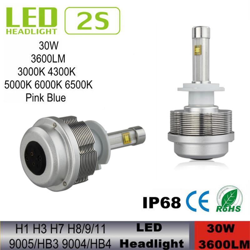 LED Car Headlights Gen 2S Car LED Headlight CREE ETI Flip Chips Fanless H8 H9 H11 LED Headlight 30W 3600LM 4300K 5000K 6000K Kit