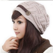 Fashion Cap Winter Ski hat Skullies Hats For Women Lady Casual Brand Caps Woman Wool Knitted Lady Beret Braided Cap MZ125(China (Mainland))