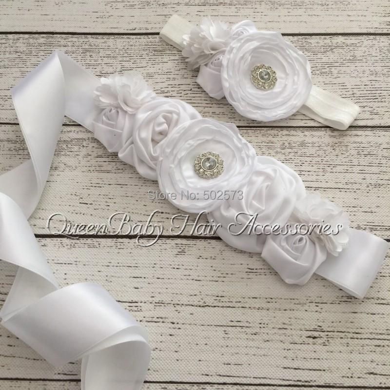 10set /lot   White  Sash  Matching Baby Headband  Poppy Flower Satin Flower Sash  Queenbaby Headband  Luxe SashÎäåæäà è àêñåññóàðû<br><br>