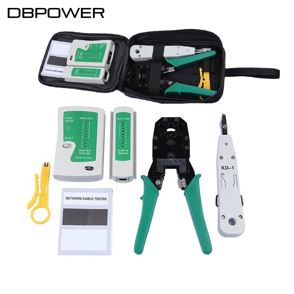 DBPOWER Ethernet Network Cable Tester RJ45 Kit RJ45 Crimper Crimping Tool RJ45 Punch Down RJ11 Cat5 Cat6 Wire Line Detector(China (Mainland))