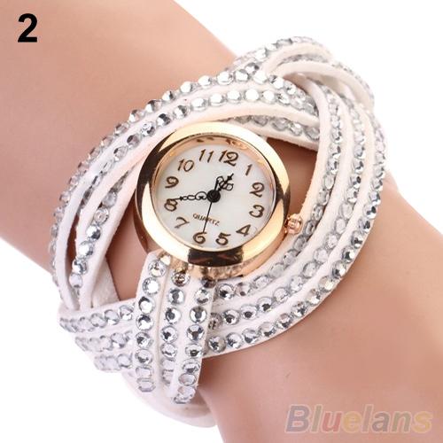 2014 fashion watch women Vintage Rhinestone Weave Twine Multilayer Leather Bracelet wristwatches 03XL - Fan's Jewerly Store store