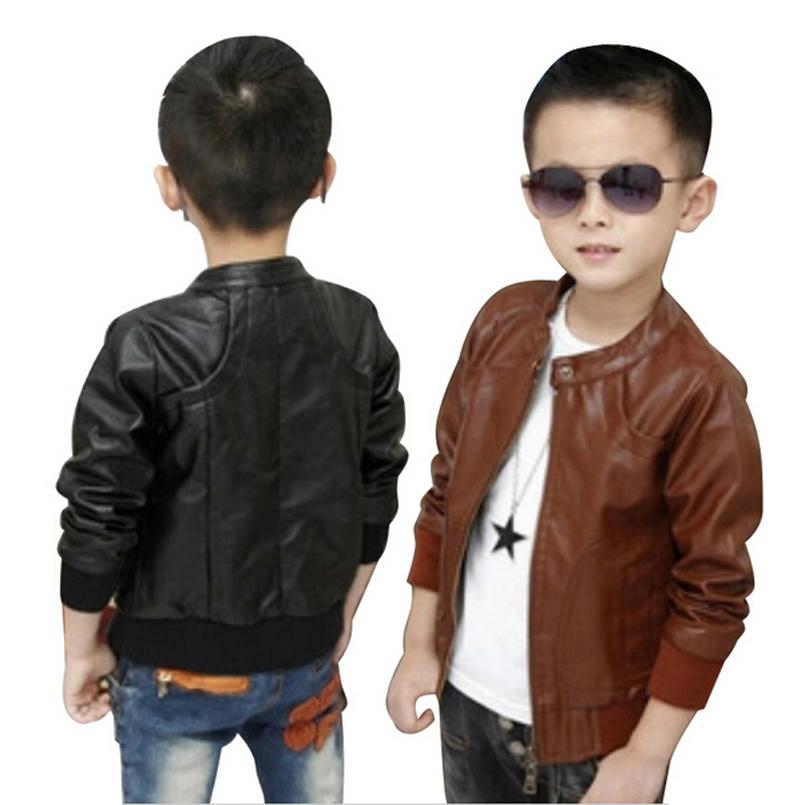 Faux Leather Jacket For Boys - Jacket
