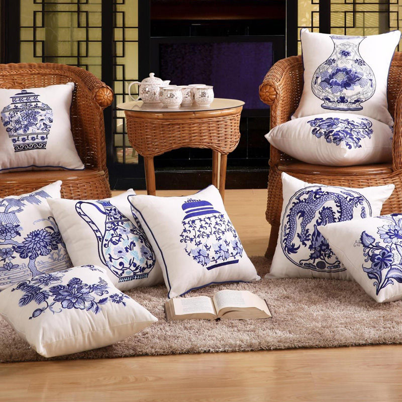 Decorative Cotton Cushion Cover in Chinese Blue-white Porcelain 43X43Cm 1 Piece Sofa Home Decor Throw Pillow Case Embroidered(China (Mainland))