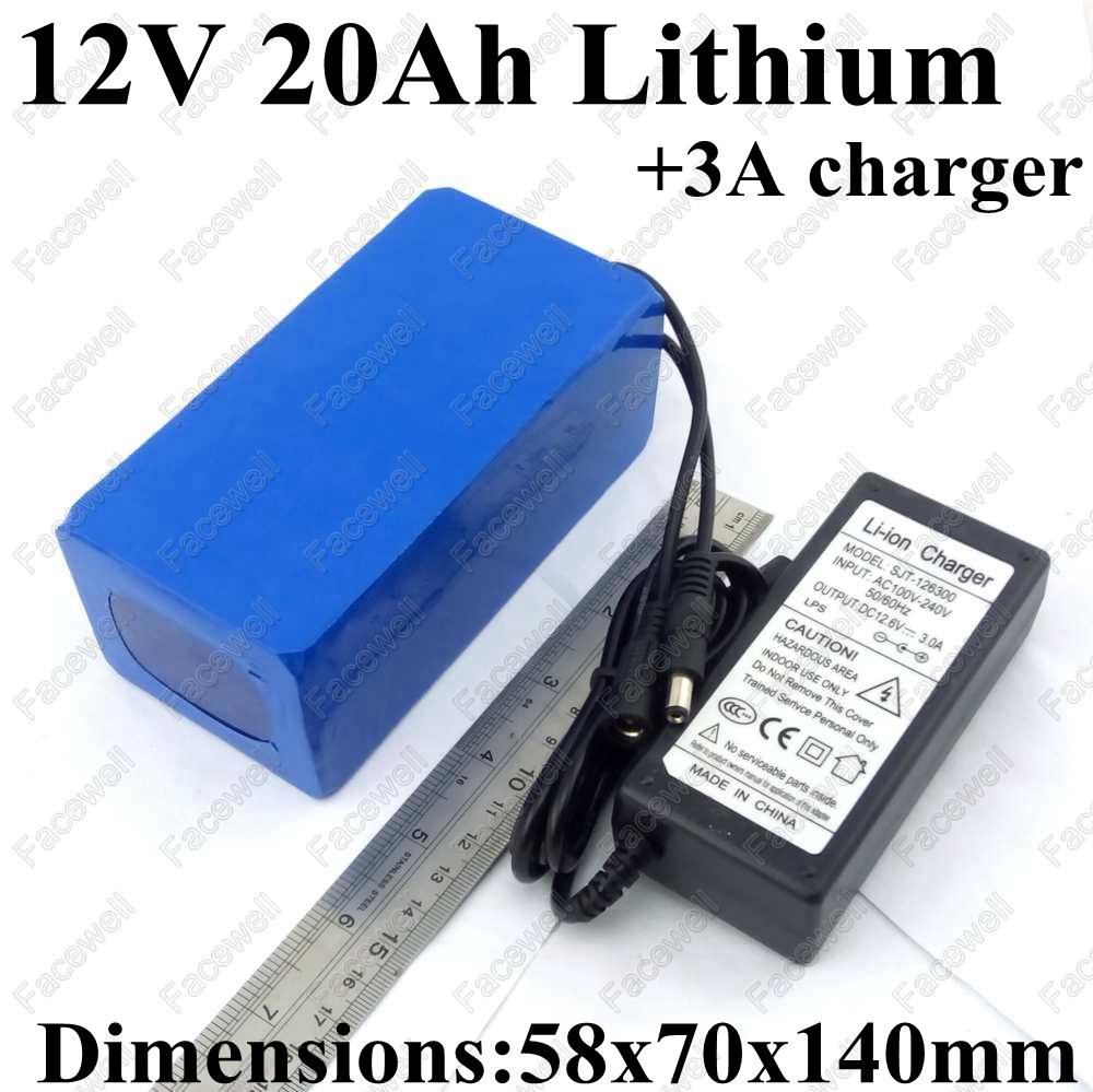 Brand battery 12v 20ah 20000mah 12v dc batteries portable li-ion lithium cells pack for backup power 12 cctv camera + 3A Charger(China (Mainland))
