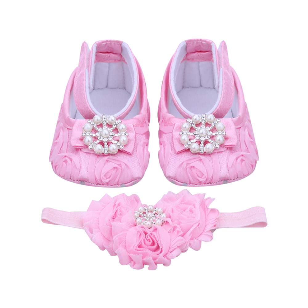 Pink Newborn Baby Girl Shoes Headband Set Toddler Baby Shoes Branded First Walker Booties Shoes with Handband for Girls(China (Mainland))