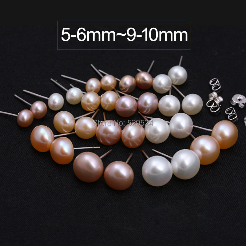 Stud earrings wholesale mixed sizes and mixed colors real pearl jewelry 925 silver fine jewelry(China (Mainland))