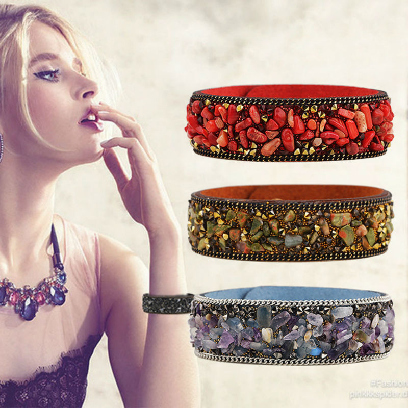 NEW Fashion Leather Warp Bracelet Bangle Handmade Gravel Stone Crystal Wristband Bracelets For Women Friendship Jewelry Gift(China (Mainland))