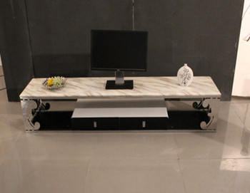 Hot-selling fashion stainless steel carved with drawer dining table coffee table storage tv cabinet v026