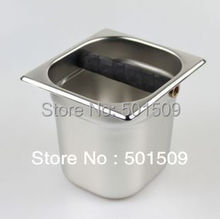Free shipping Espresso coffee knock box stainless steel big size 15cm height