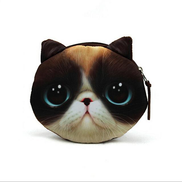 2015 новые кошельки для монет кошелек дамы 3D печать кошки собаки животных большой ...