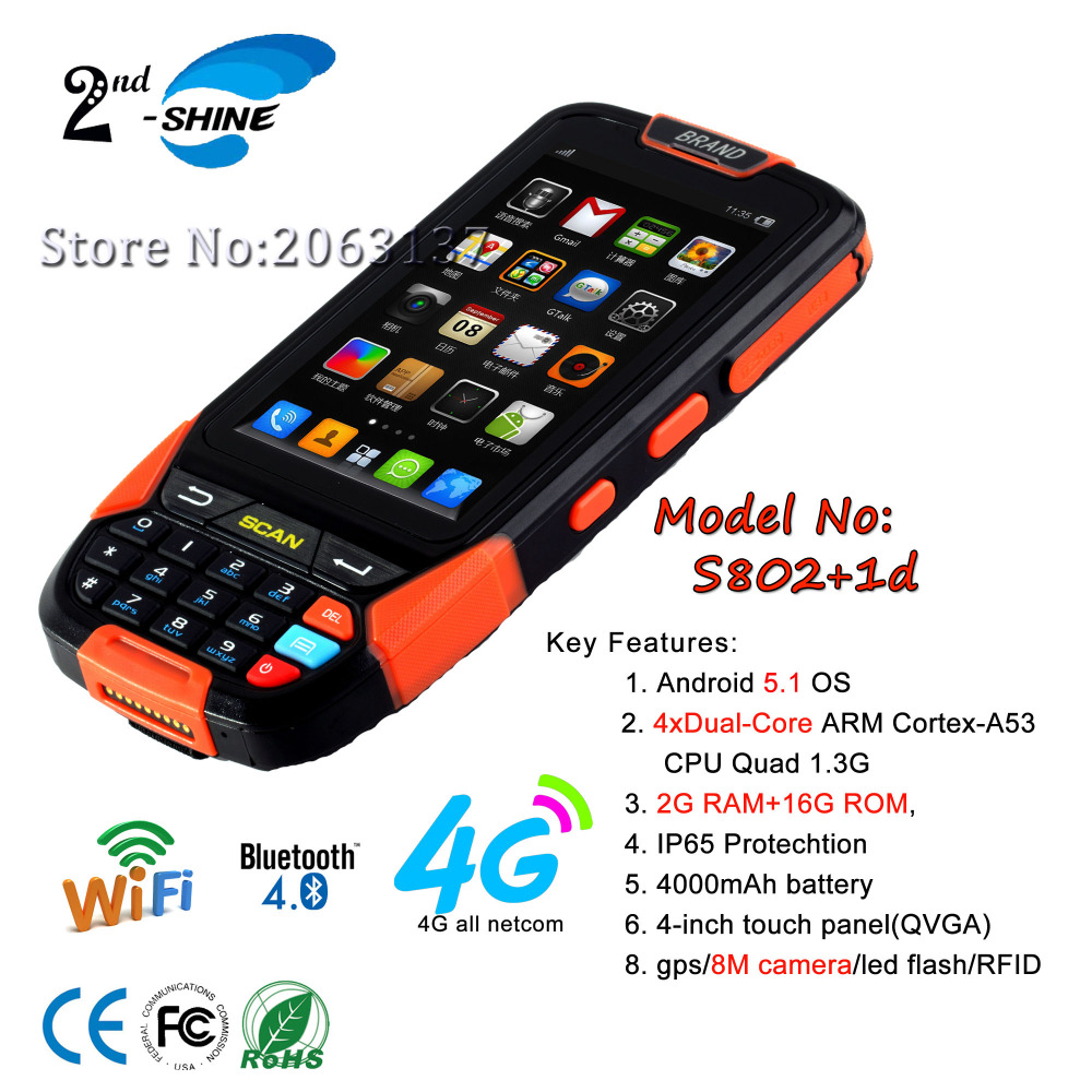 Wireless bluetooth WIFI PDA programmable android cheapest 1d barcode 8MP camera scanner, 2G RAM and 16G ROM(China (Mainland))