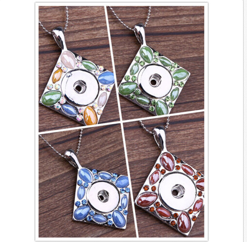 10pcs/lot fashion silver plated square rhinestone snap necklace pendant jewelry ginger snap charm button pendant Free ship