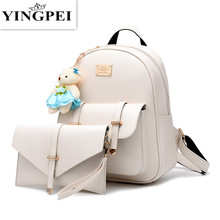 Buy YINGPEI PU Women Backpack Leather big girl student book bag purse 2pcs set bag high ladies school bags teenager for $20.34 in AliExpress store