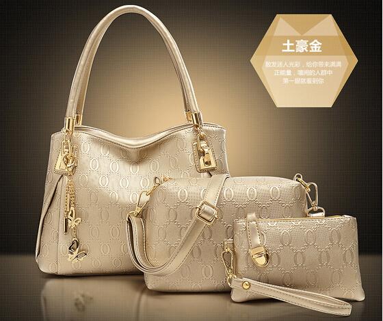 New 2015 women handbags genuinet leather handbag women messenger bags brand designs bag bags Handbag+Messenger Bag+Purse 3 Sets(China (Mainland))