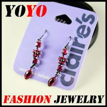 New Long Dangle Earrings Fashion Jewelry Pink Crystal Stone Drop Earrings For Women 2015 Girls G3509(China (Mainland))