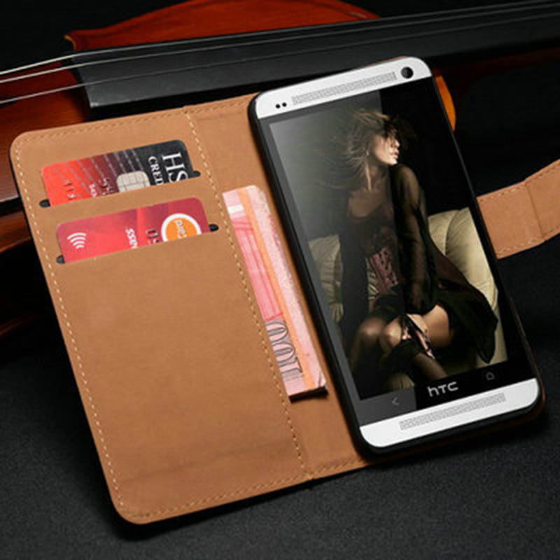 Genuine Leather Wallet Case For HTC One M7 Phone Flip Style with Stand Cover For HTC M7 Coque(China (Mainland))
