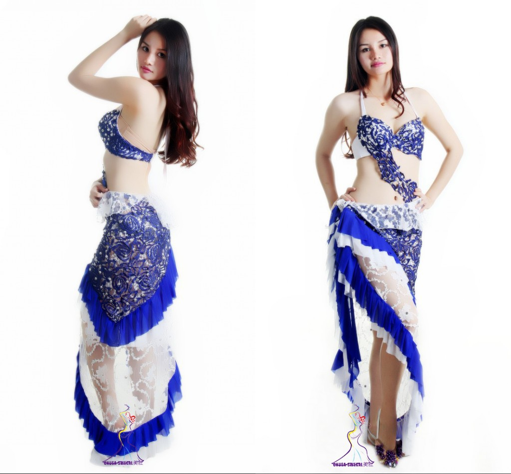 Classy special adult blue lace belly dance Indian dance performance yoga costumes clothes suit set 2pcs(bra+hip scarf)(China (Mainland))