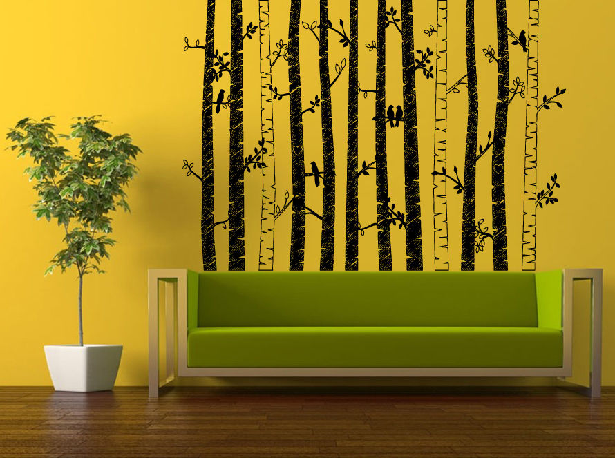 Wall room decor sticker mural decal birch tree set forest for Birch wall mural