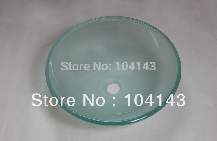Bath basin tempered glass vessel sink &amp; drain good quality cl046<br>