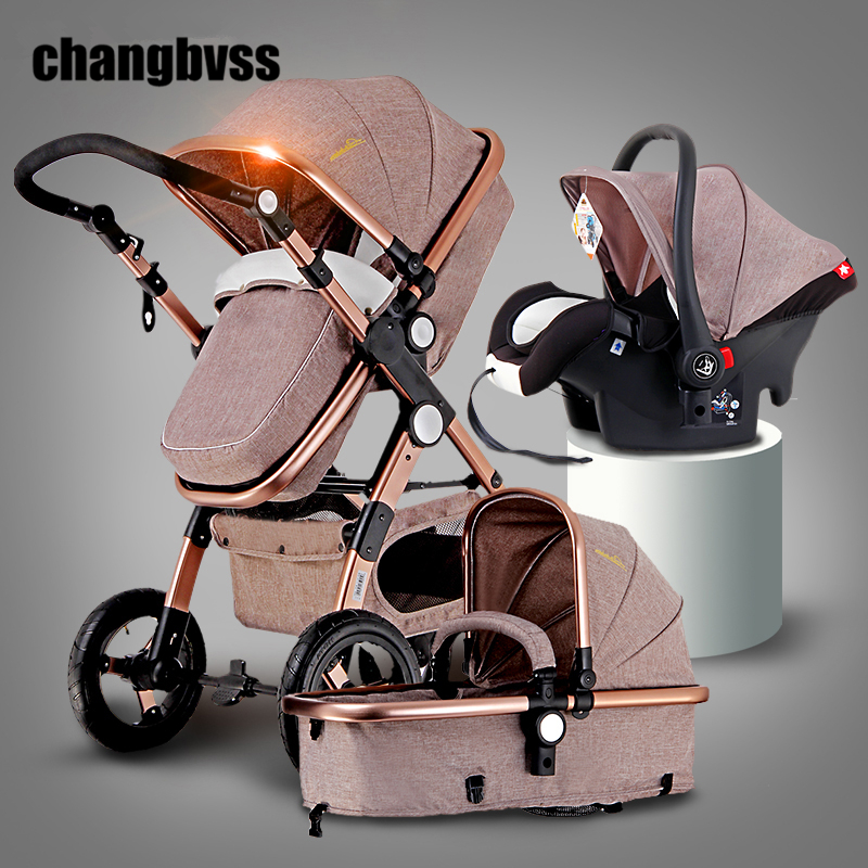 New Luxury Baby Stroller 3 in 1 High Landscape Infant Baby Stroller with Car Seafty Seat,Baby Carriage Prams European Strollers(China (Mainland))